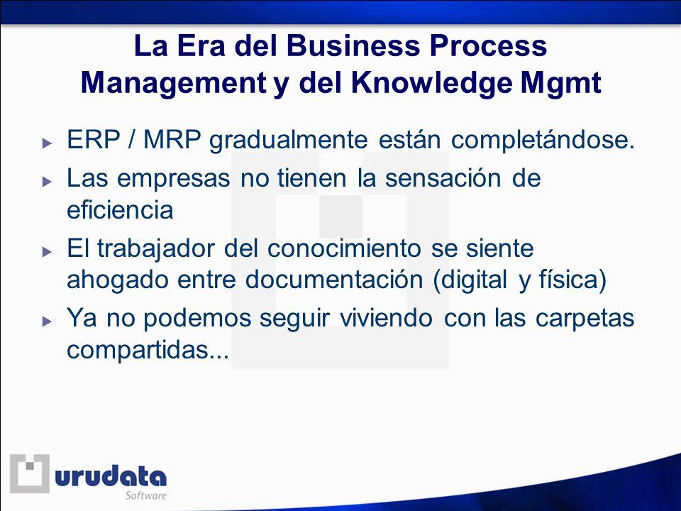 La Era del Business Process Management y del Knowledge Mgmt ERP / MRP gradualmente están completándose. Las empresas no tienen la sensación de eficien