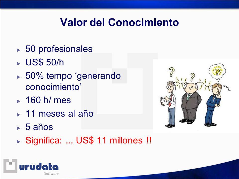 Valor del Conocimiento 50 profesionales US$ 50/h 50% tempo generando conocimiento 160 h/ mes 11 meses al año 5 años Significa:... US$ 11 millones !!