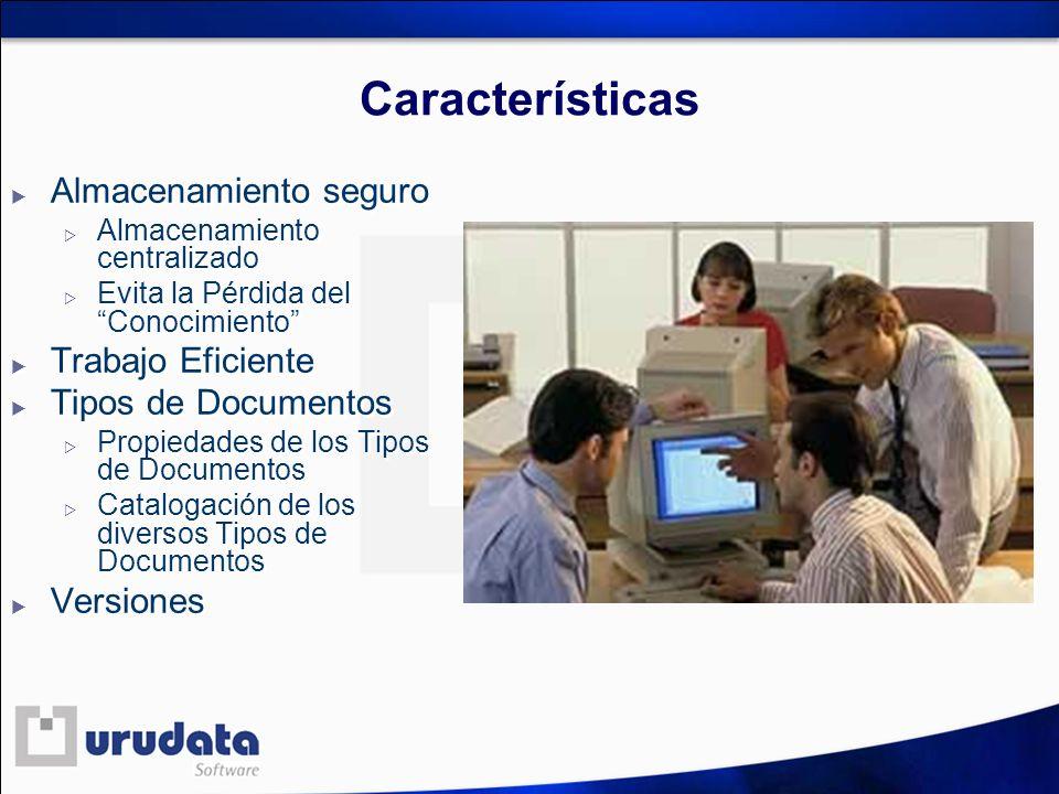 Características Almacenamiento seguro Almacenamiento centralizado Evita la Pérdida del Conocimiento Trabajo Eficiente Tipos de Documentos Propiedades