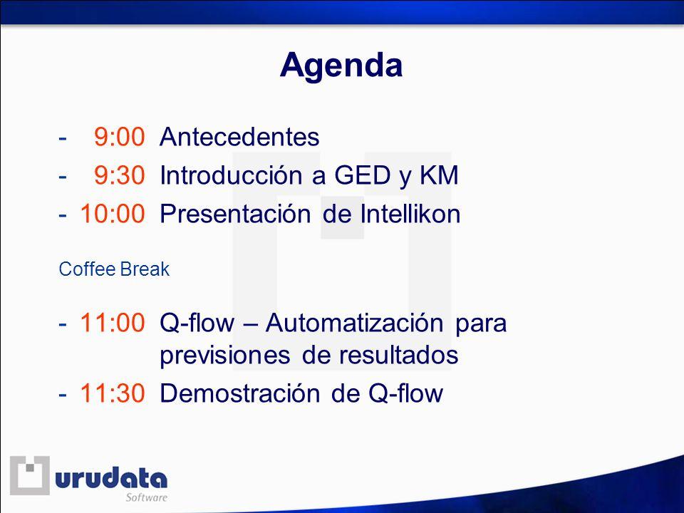 Agenda - 9:00 Antecedentes - 9:30 Introducción a GED y KM - 10:00 Presentación de Intellikon Coffee Break - 11:00 Q-flow – Automatización para previsi