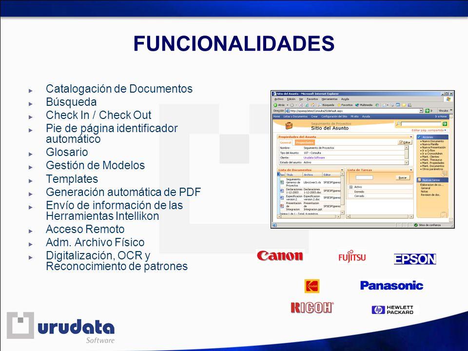 FUNCIONALIDADES Catalogación de Documentos Búsqueda Check In / Check Out Pie de página identificador automático Glosario Gestión de Modelos Templates