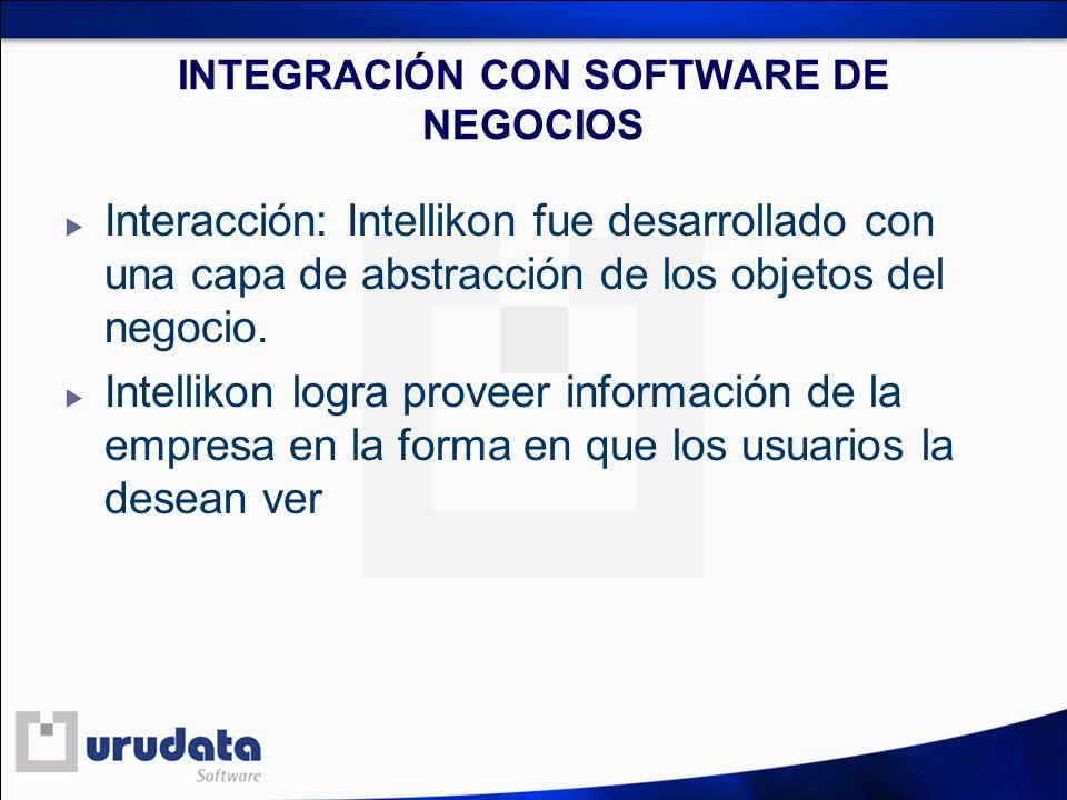 INTEGRACIÓN CON SOFTWARE DE NEGOCIOS Interacción: Intellikon fue desarrollado con una capa de abstracción de los objetos del negocio. Intellikon logra