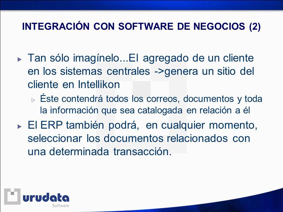 INTEGRACIÓN CON SOFTWARE DE NEGOCIOS (2) Tan sólo imagínelo...El agregado de un cliente en los sistemas centrales ->genera un sitio del cliente en Int