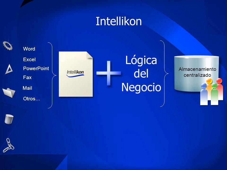 Intellikon Word Excel PowerPoint Fax Mail Otros… Lógica del Negocio Almacenamiento centralizado