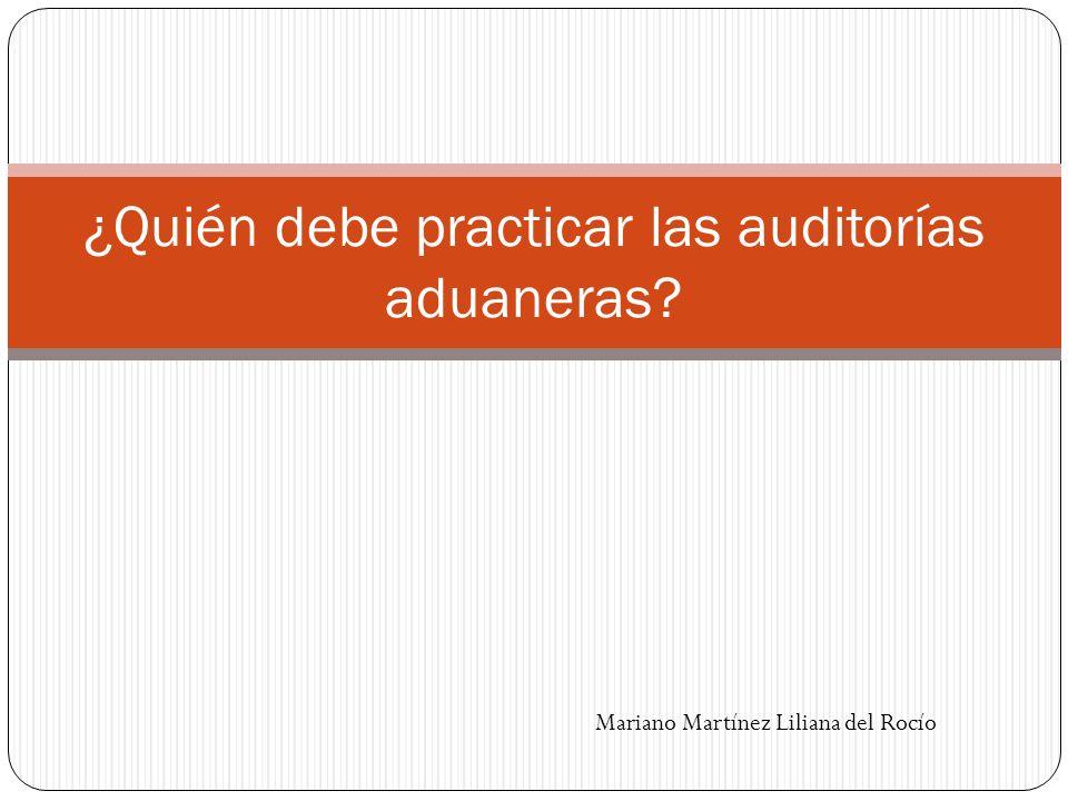 ¿Quién debe practicar las auditorías aduaneras? Mariano Martínez Liliana del Rocío