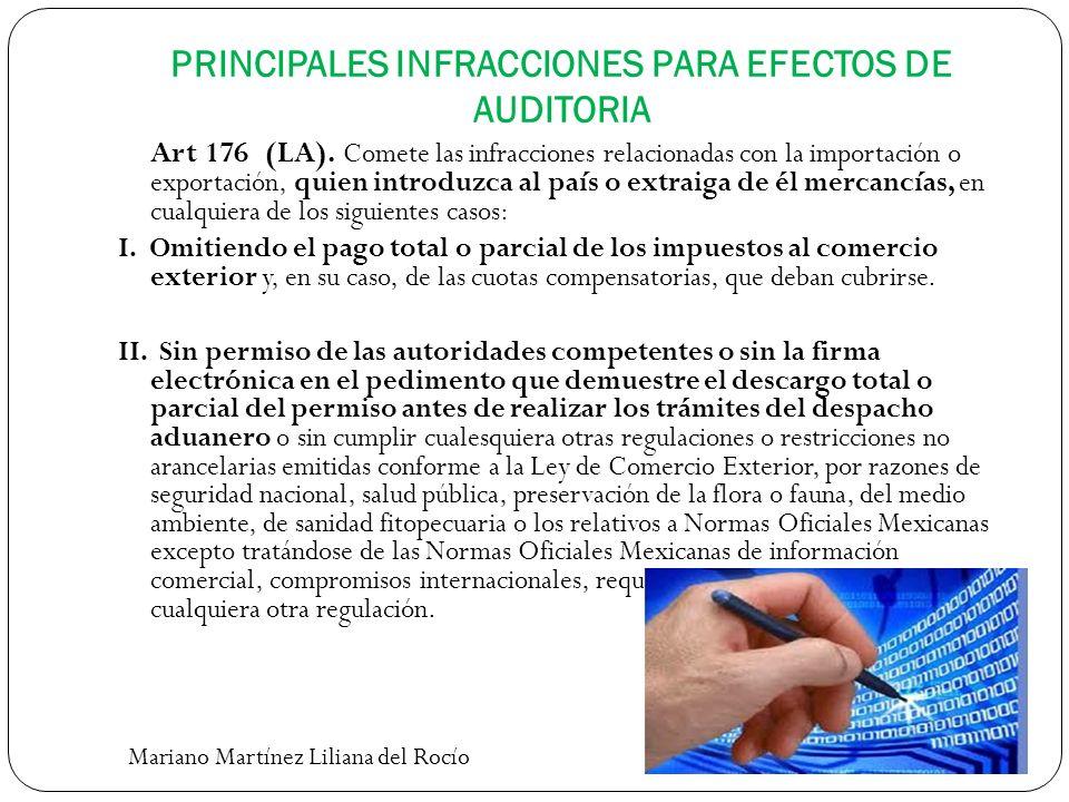 PRINCIPALES INFRACCIONES PARA EFECTOS DE AUDITORIA Art 176 (LA). Comete las infracciones relacionadas con la importación o exportación, quien introduz