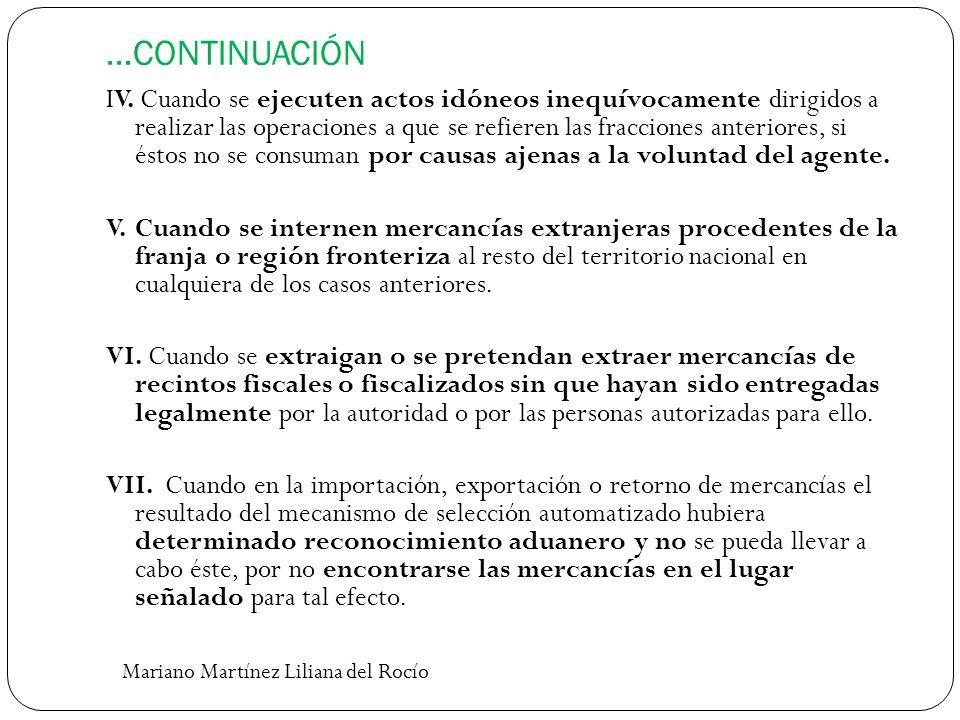 …CONTINUACIÓN IV. Cuando se ejecuten actos idóneos inequívocamente dirigidos a realizar las operaciones a que se refieren las fracciones anteriores, s