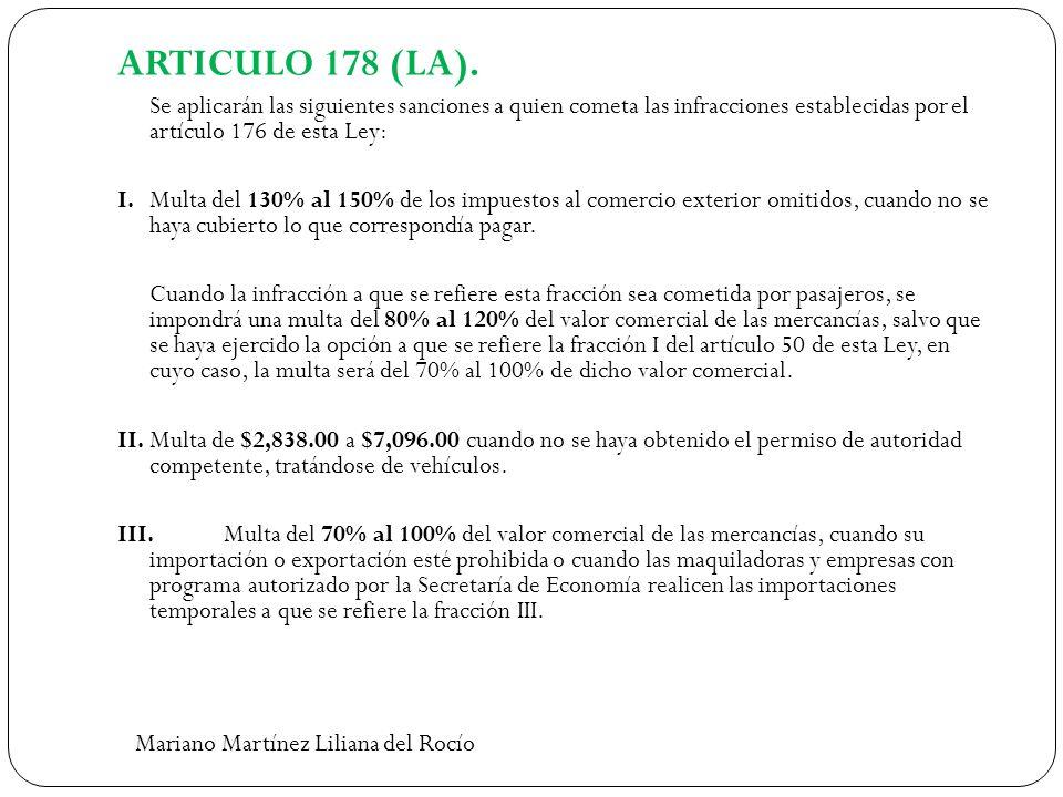 ARTICULO 178 (LA). Se aplicarán las siguientes sanciones a quien cometa las infracciones establecidas por el artículo 176 de esta Ley: I.Multa del 130