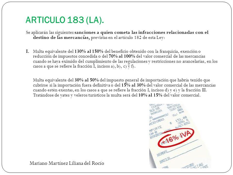 ARTICULO 183 (LA). Se aplicarán las siguientes sanciones a quien cometa las infracciones relacionadas con el destino de las mercancías, previstas en e