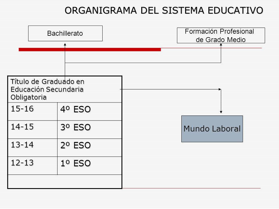 ORGANIGRAMA DEL SISTEMA EDUCATIVO Título de Graduado en Educación Secundaria Obligatoria 15-16 4º ESO 14-15 3º ESO 13-14 2º ESO 12-13 1º ESO Bachiller