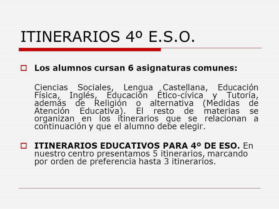 ITINERARIOS 4º E.S.O. Los alumnos cursan 6 asignaturas comunes: Ciencias Sociales, Lengua Castellana, Educación Física, Inglés, Educación Ético-cívica