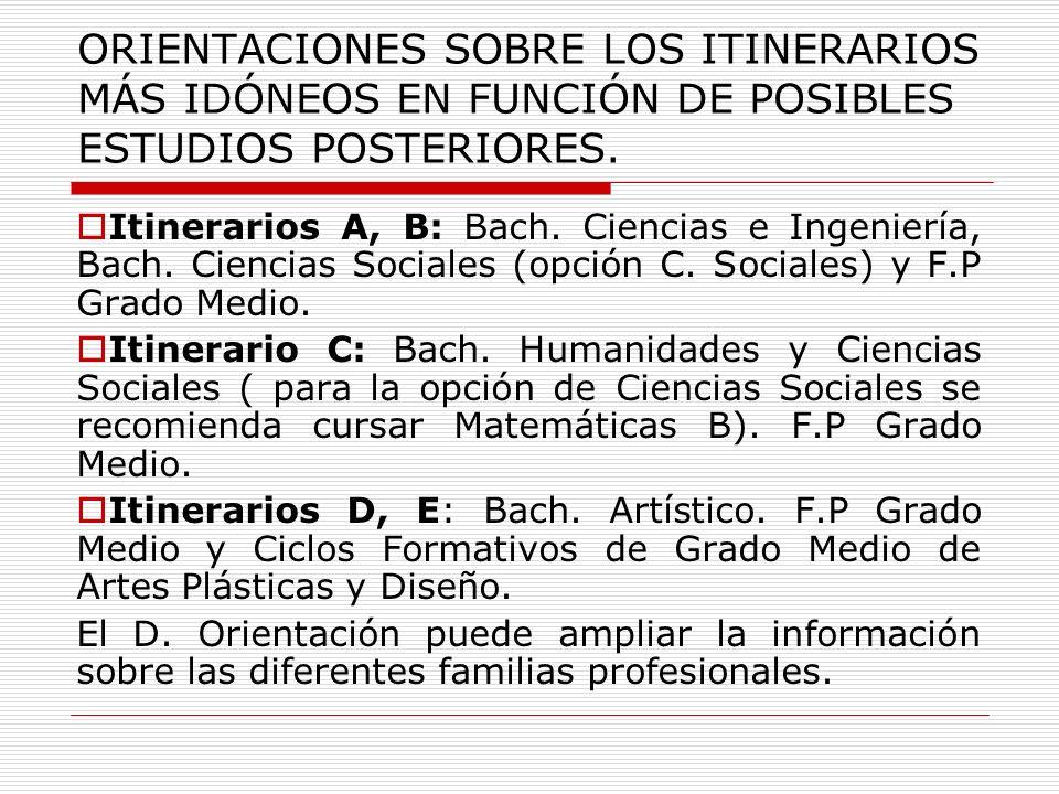 ORIENTACIONES SOBRE LOS ITINERARIOS MÁS IDÓNEOS EN FUNCIÓN DE POSIBLES ESTUDIOS POSTERIORES. Itinerarios A, B: Bach. Ciencias e Ingeniería, Bach. Cien