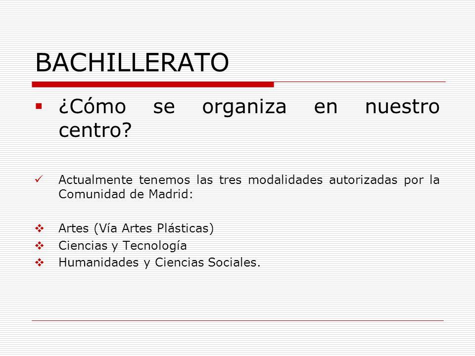BACHILLERATO ¿Cómo se organiza en nuestro centro? Actualmente tenemos las tres modalidades autorizadas por la Comunidad de Madrid: Artes (Vía Artes Pl