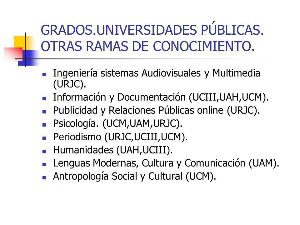 GRADOS.UNIVERSIDADES PUBLICAS.Historia del Arte (UCM,UAM).
