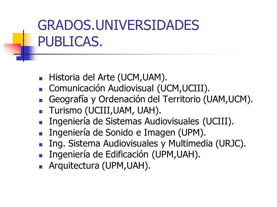 DOBLES GRADOS.UNIVERSIDADES PÚBLICAS. Periodismo + Comunicación Audiovisual (UC3,URJC).