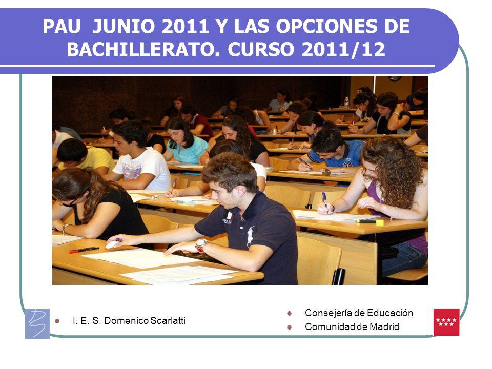 PAU JUNIO 2011 Y LAS OPCIONES DE BACHILLERATO. CURSO 2011/12 Consejería de Educación Comunidad de Madrid I. E. S. Domenico Scarlatti