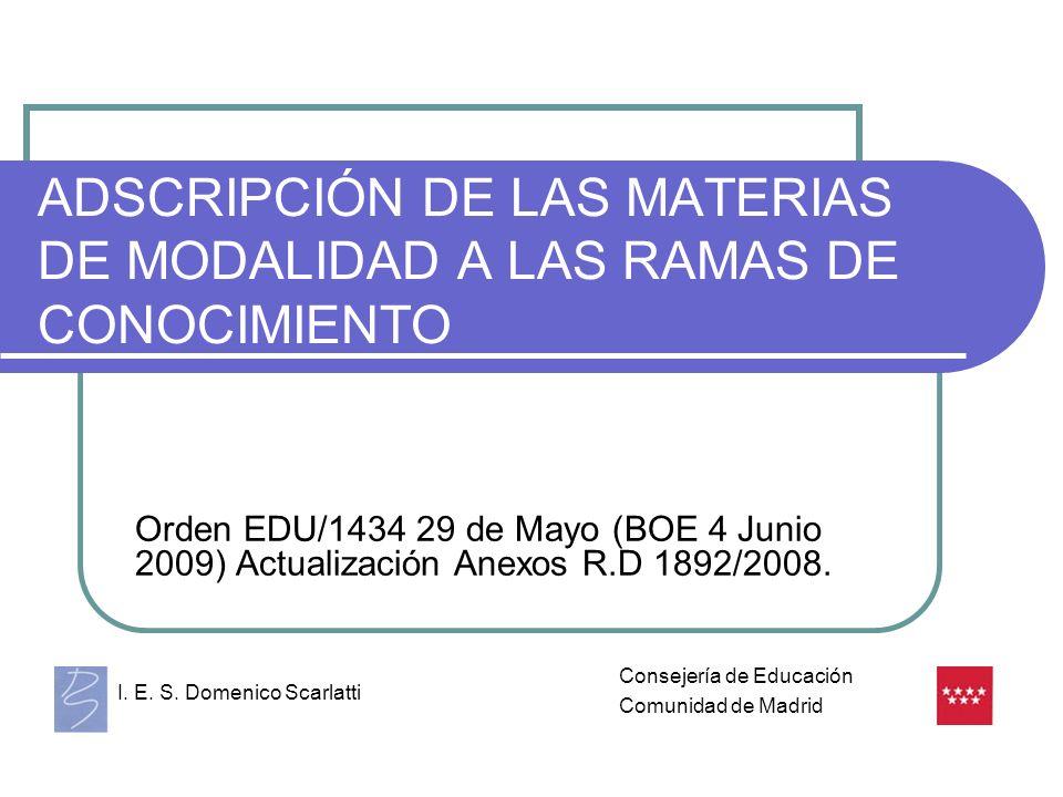 ADSCRIPCIÓN DE LAS MATERIAS DE MODALIDAD A LAS RAMAS DE CONOCIMIENTO Orden EDU/1434 29 de Mayo (BOE 4 Junio 2009) Actualización Anexos R.D 1892/2008.