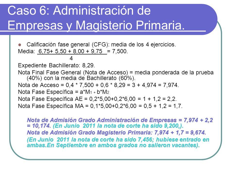 Caso 6: Administración de Empresas y Magisterio Primaria. Calificación fase general (CFG): media de los 4 ejercicios. Media: 6,75+ 5,50 + 8,00 + 9,75