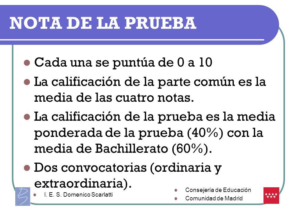 NOTA DE LA PRUEBA Cada una se puntúa de 0 a 10 La calificación de la parte común es la media de las cuatro notas. La calificación de la prueba es la m