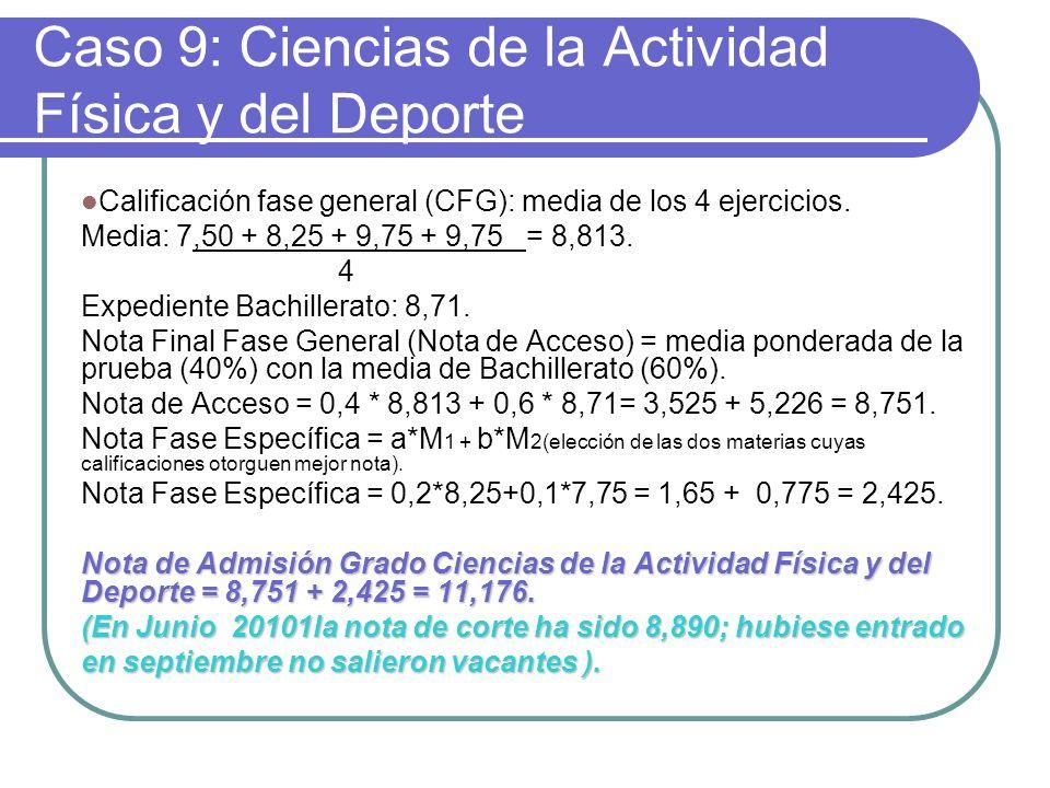 Caso 9: Ciencias de la Actividad Física y del Deporte Calificación fase general (CFG): media de los 4 ejercicios. Media: 7,50 + 8,25 + 9,75 + 9,75 = 8