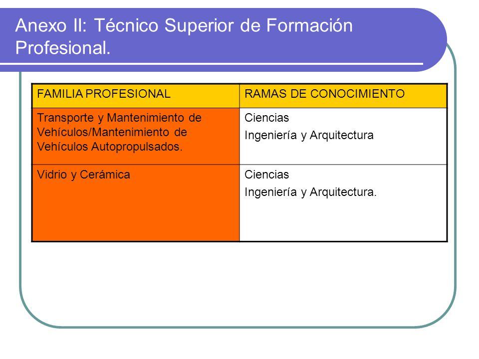 Anexo II: Técnico Superior de Formación Profesional. FAMILIA PROFESIONALRAMAS DE CONOCIMIENTO Transporte y Mantenimiento de Vehículos/Mantenimiento de