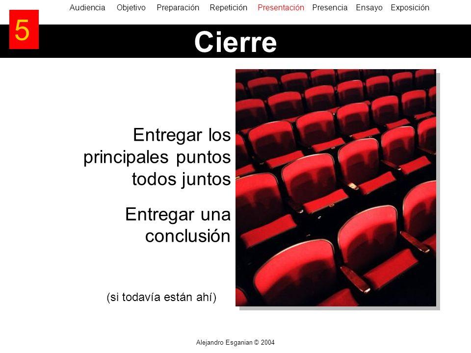 Alejandro Esganian © 2004 Entregar los principales puntos todos juntos Entregar una conclusión (si todavía están ahí) AudienciaObjetivo Preparación Re