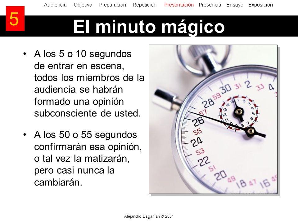 Alejandro Esganian © 2004 El minuto mágico A los 5 o 10 segundos de entrar en escena, todos los miembros de la audiencia se habrán formado una opinión
