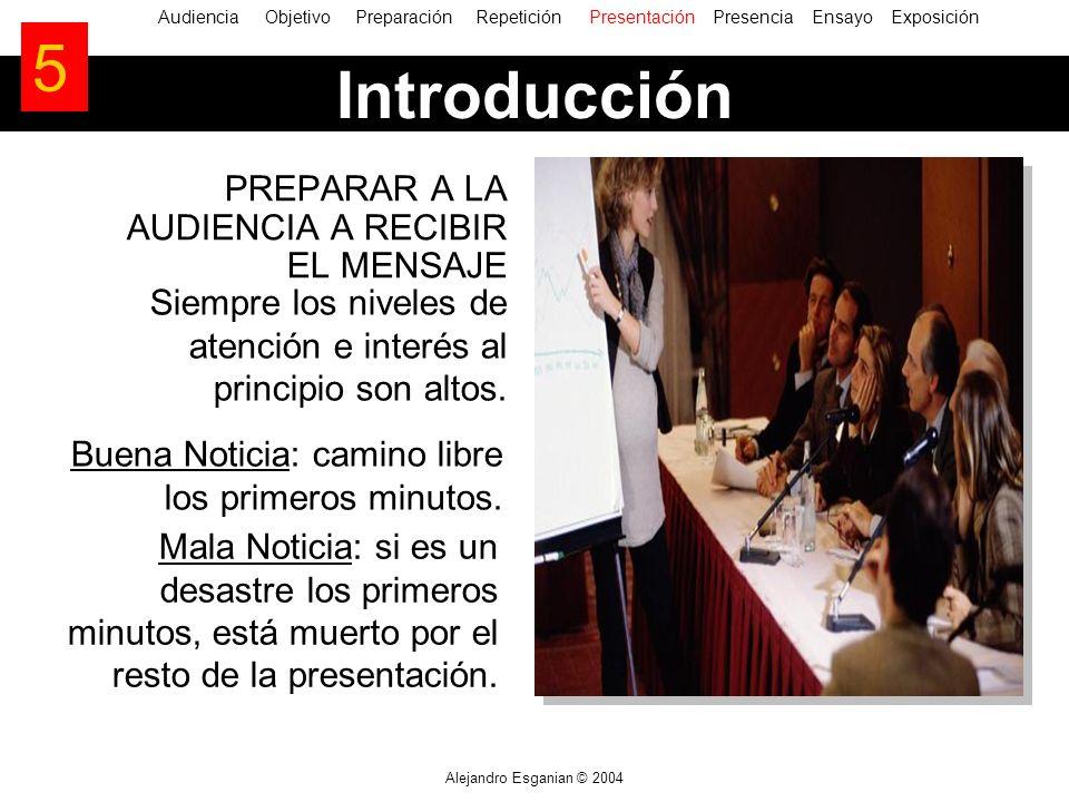 Alejandro Esganian © 2004 Introducción PREPARAR A LA AUDIENCIA A RECIBIR EL MENSAJE AudienciaObjetivo Preparación Repetición Presentación Presencia En