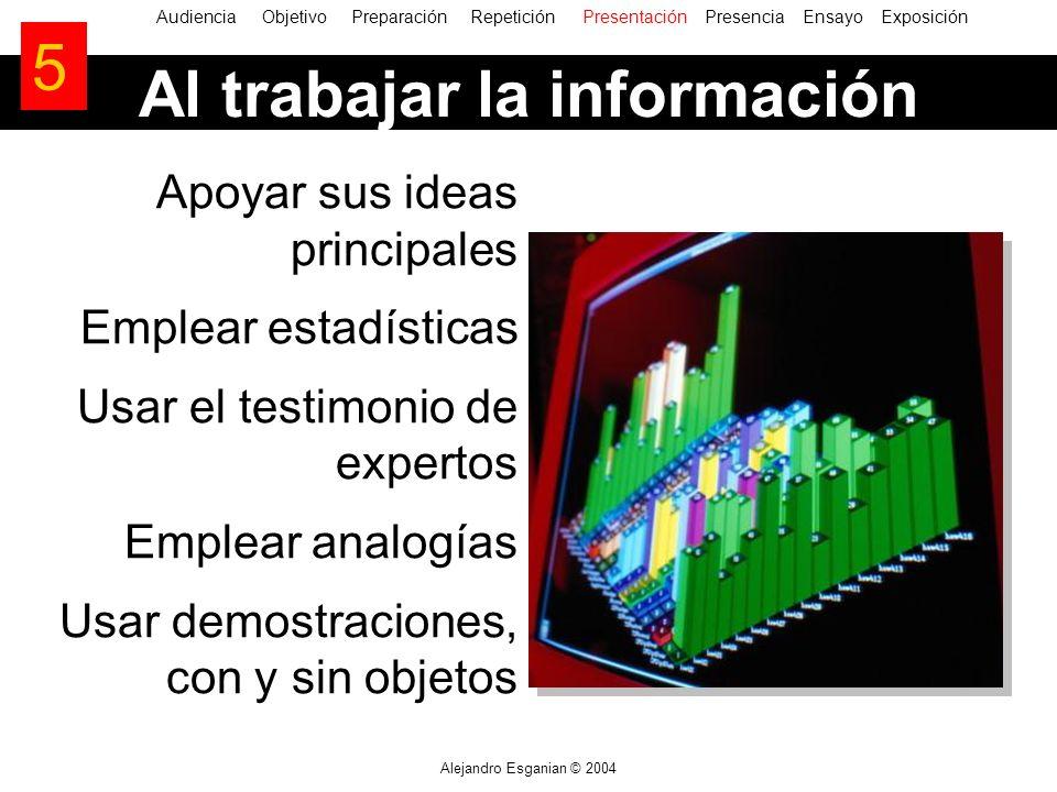 Alejandro Esganian © 2004 AudienciaObjetivo Preparación Repetición Presentación Presencia Ensayo Exposición Al trabajar la información 5 Apoyar sus id