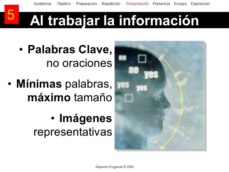 Alejandro Esganian © 2004 AudienciaObjetivo Preparación Repetición Presentación Presencia Ensayo Exposición Al trabajar la información 5 Palabras Clav