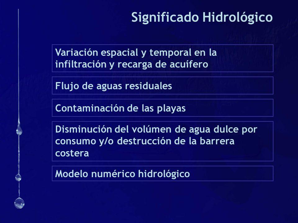 Significado Hidrológico Variación espacial y temporal en la infiltración y recarga de acuífero Flujo de aguas residuales Disminución del volúmen de ag