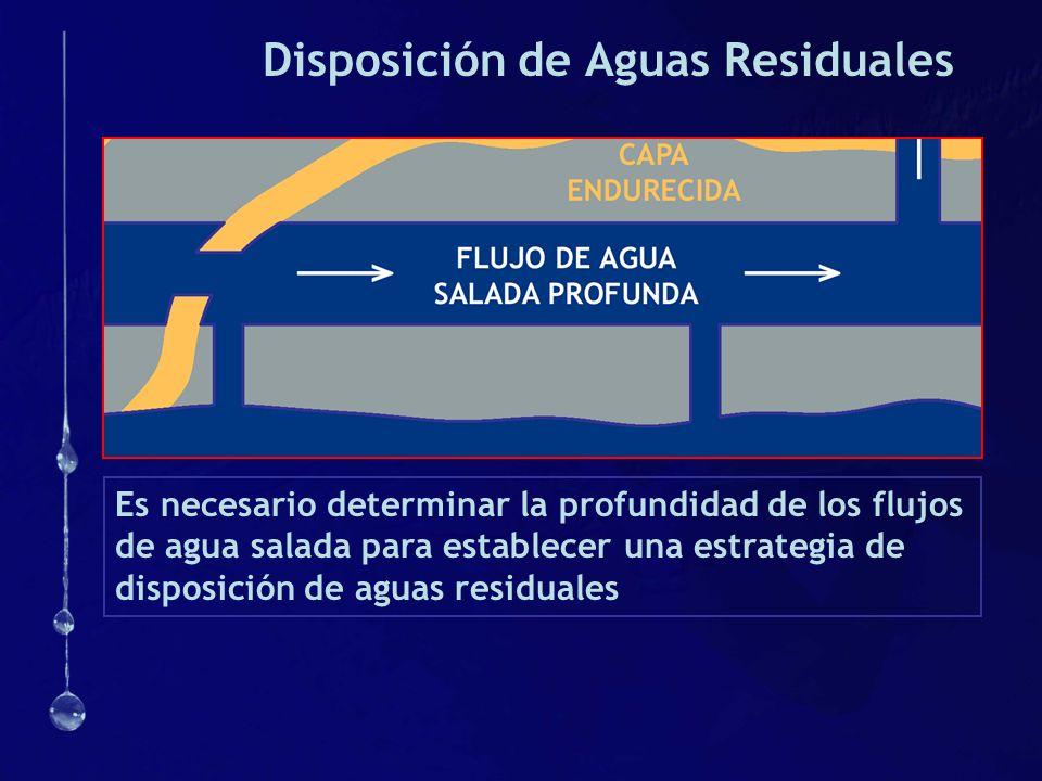 Disposición de Aguas Residuales Es necesario determinar la profundidad de los flujos de agua salada para establecer una estrategia de disposición de a
