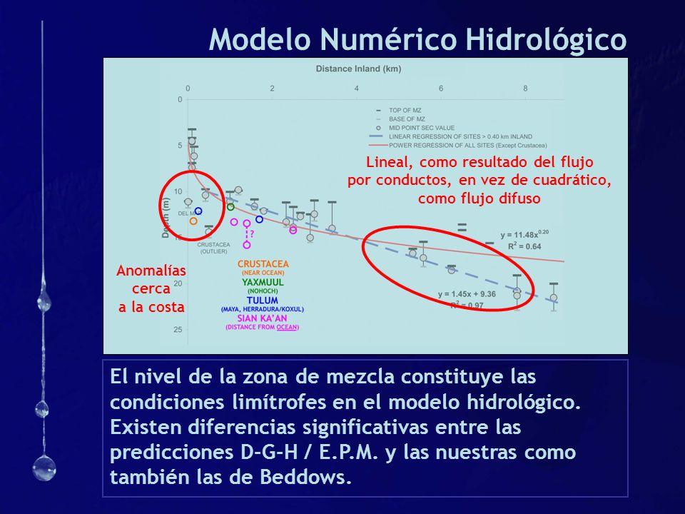 Modelo Numérico Hidrológico El nivel de la zona de mezcla constituye las condiciones limítrofes en el modelo hidrológico. Existen diferencias signific