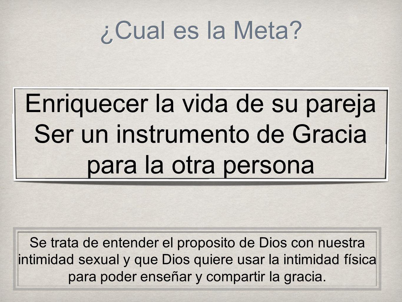 ¿Cual es la Meta? Enriquecer la vida de su pareja Ser un instrumento de Gracia para la otra persona Se trata de entender el proposito de Dios con nues