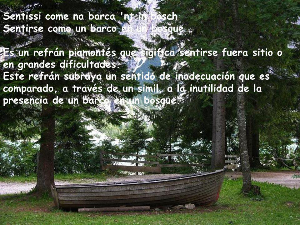 Sentissi come na barca 'nt in bòsch Sentirse como un barco en un bosque Es un refrán piamontés que sigifica sentirse fuera sitio o en grandes dificult