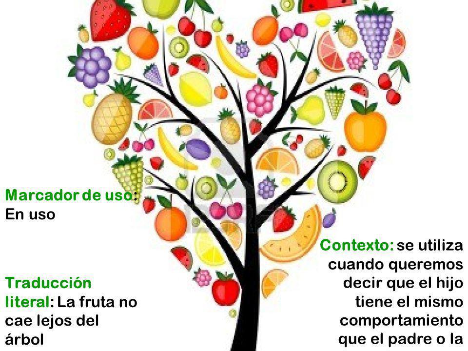 Contexto: se utiliza cuando queremos decir que el hijo tiene el mismo comportamiento que el padre o la madre Traducción literal: La fruta no cae lejos