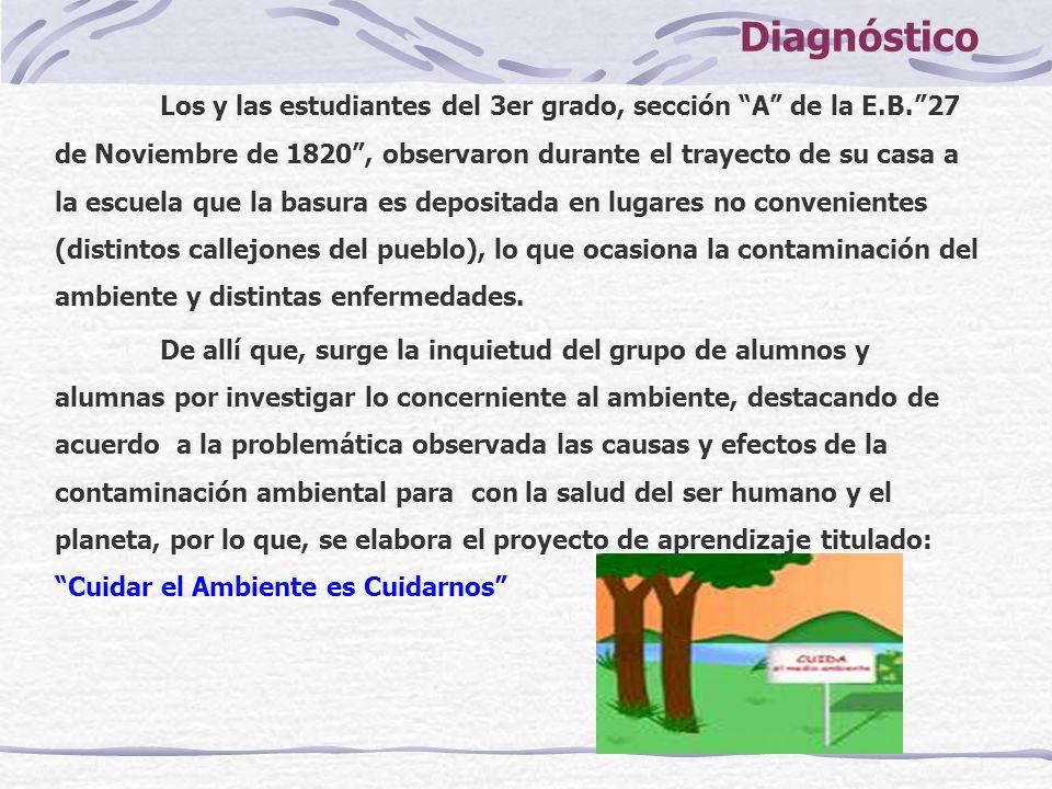 Diagnóstico Los y las estudiantes del 3er grado, sección A de la E.B.27 de Noviembre de 1820, observaron durante el trayecto de su casa a la escuela q