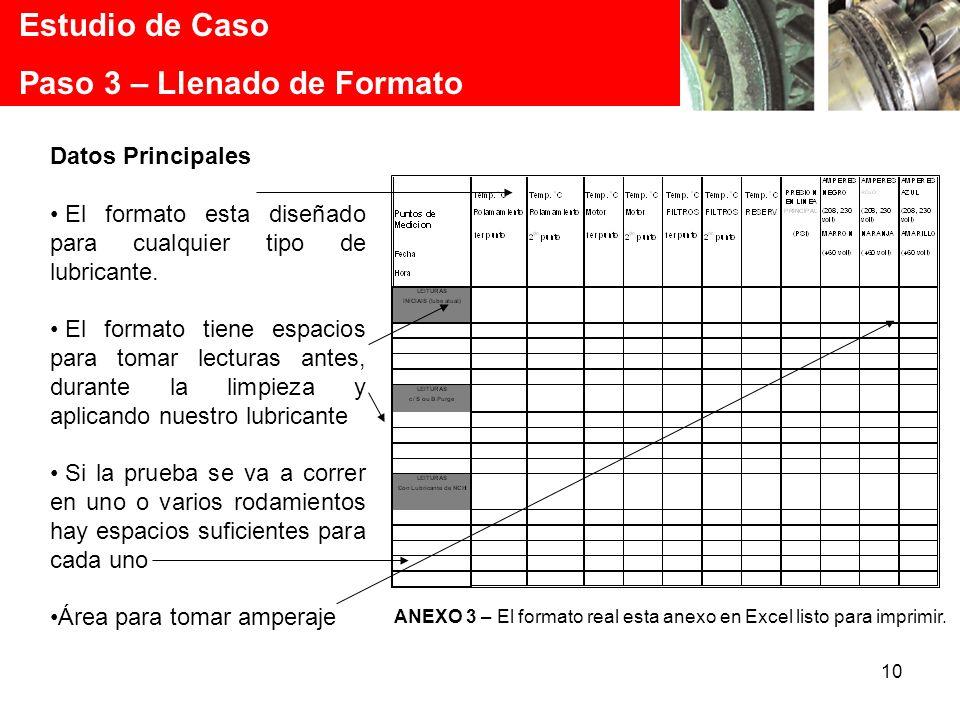 10 Estudio de Caso Paso 3 – Llenado de Formato Datos Principales El formato esta diseñado para cualquier tipo de lubricante. El formato tiene espacios