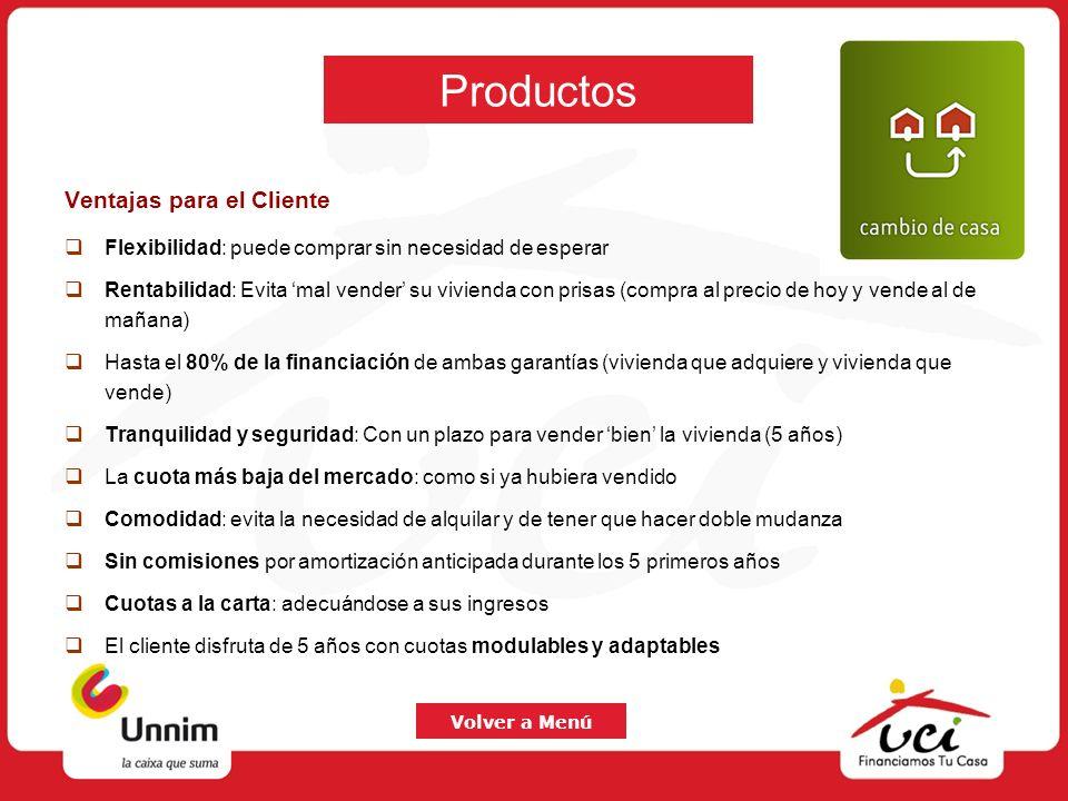 Productos Ventajas para el Cliente Flexibilidad: puede comprar sin necesidad de esperar Rentabilidad: Evita mal vender su vivienda con prisas (compra
