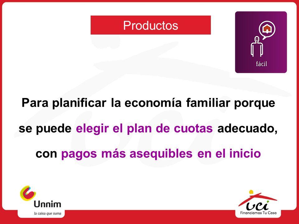 Productos Para planificar la economía familiar porque se puede elegir el plan de cuotas adecuado, con pagos más asequibles en el inicio