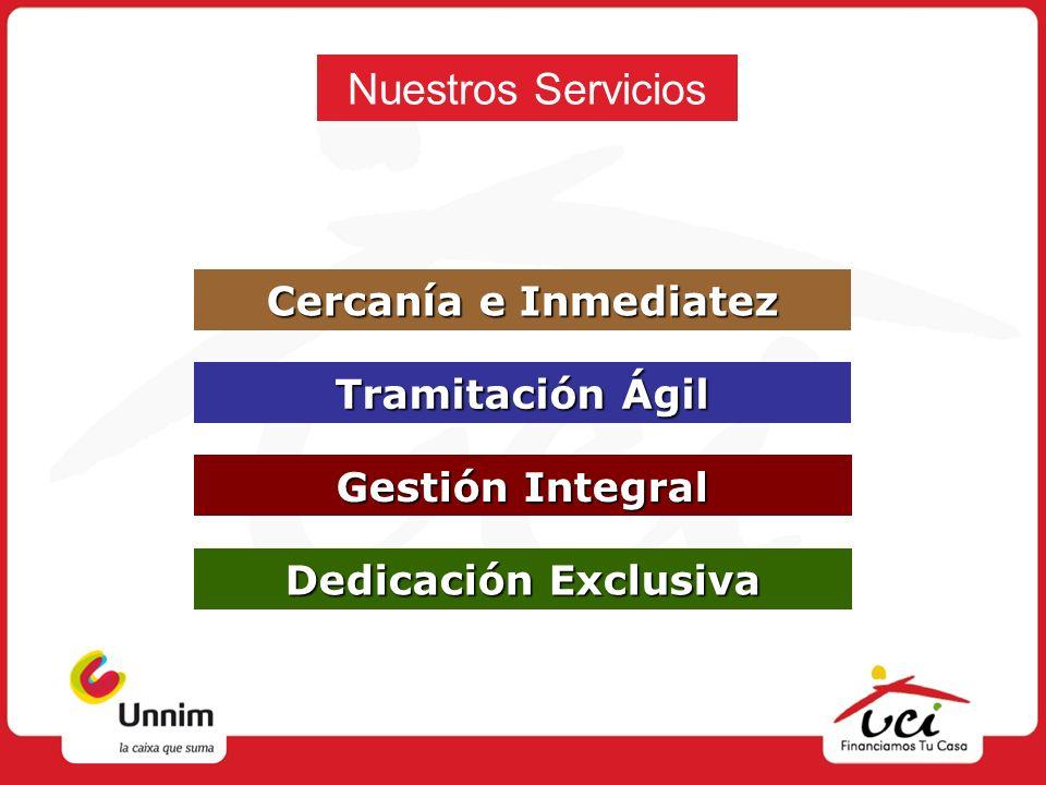 Nuestros Servicios Cercanía e Inmediatez Cercanía e Inmediatez Tramitación Ágil Tramitación Ágil Gestión Integral Gestión Integral Dedicación Exclusiv