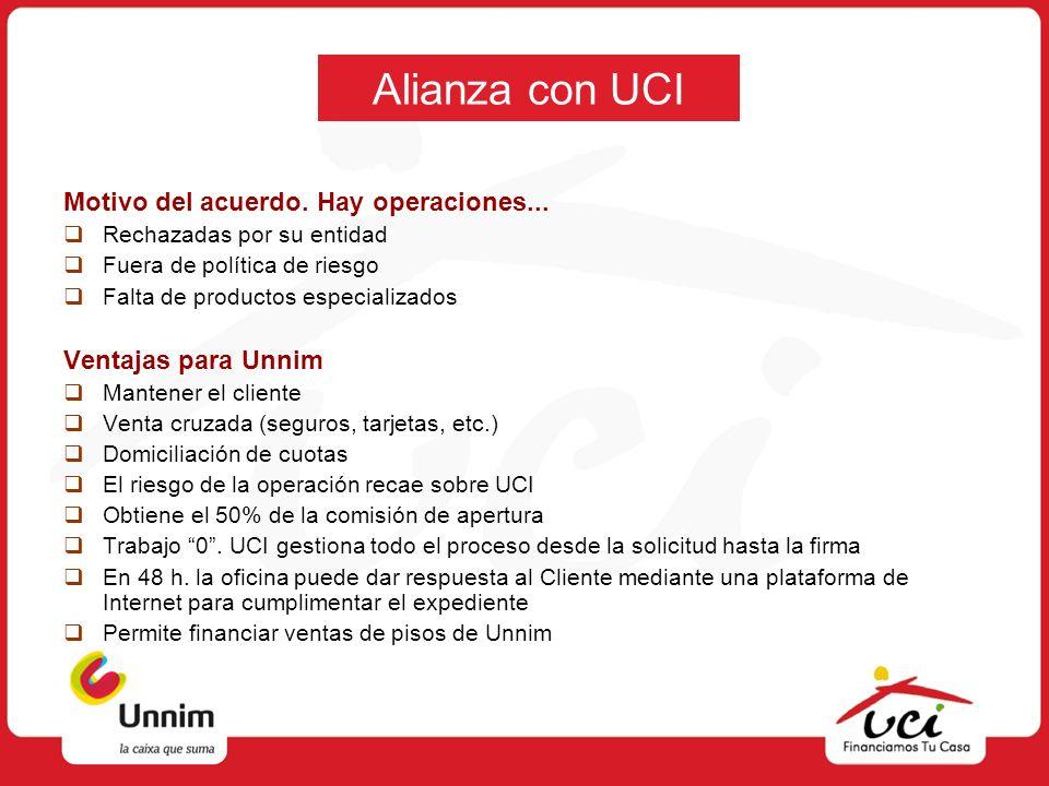 Alianza con UCI Motivo del acuerdo. Hay operaciones... Rechazadas por su entidad Fuera de política de riesgo Falta de productos especializados Ventaja