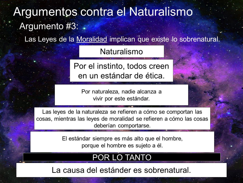 Argumentos contra el Naturalismo Argumento #3: Las Leyes de la Moralidad implican que existe lo sobrenatural. Naturalismo Por el instinto, todos creen