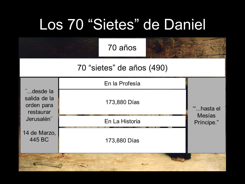 68 70 años 70 sietes de años (490) ¨...desde la salida de la orden para restaurar Jerusalén¨ 14 de Marzo, 445 BC En la Profesía...hasta el Mesías Prín