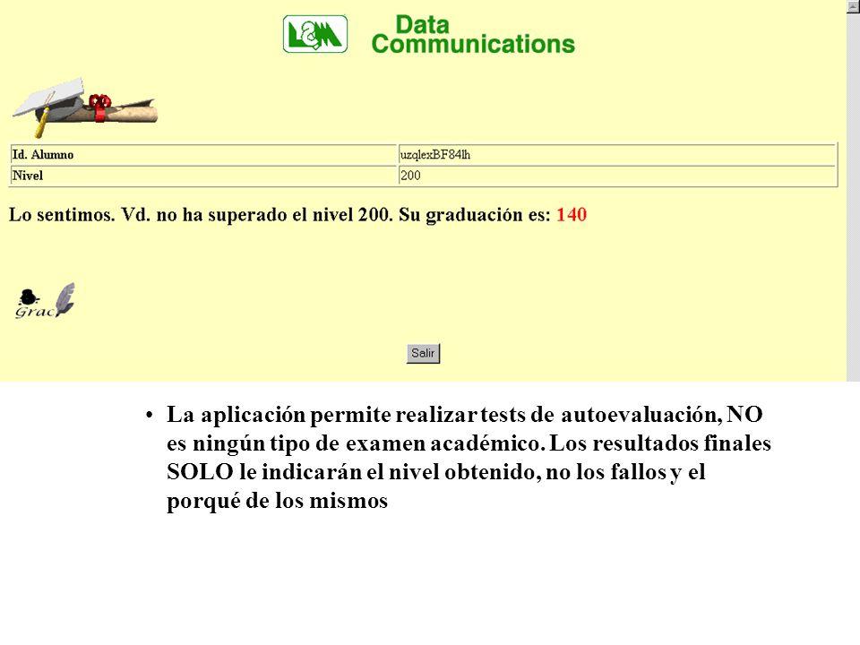 La aplicación permite realizar tests de autoevaluación, NO es ningún tipo de examen académico.