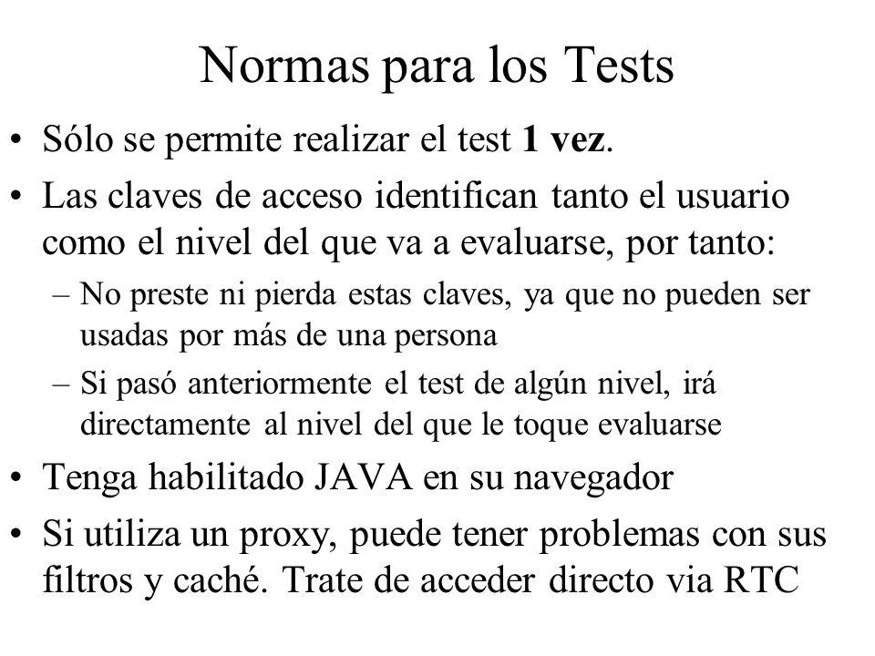 Normas para los Tests Sólo se permite realizar el test 1 vez. Las claves de acceso identifican tanto el usuario como el nivel del que va a evaluarse,