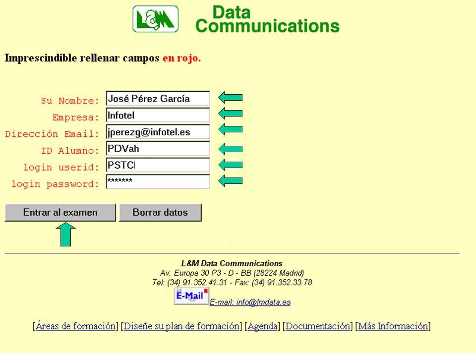 Pantalla de identificación Rellene correctamente su NOMBRE, EMPRESA y DIRECCIÓN E-MAIL.