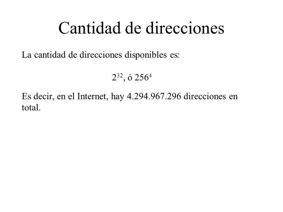 Cantidad de direcciones La cantidad de direcciones disponibles es: 2 32, ó 256 4 Es decir, en el Internet, hay 4.294.967.296 direcciones en total.