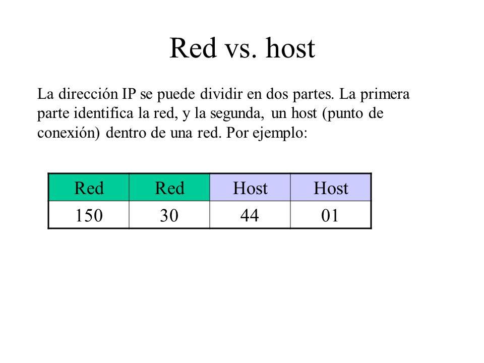 Red vs. host La dirección IP se puede dividir en dos partes. La primera parte identifica la red, y la segunda, un host (punto de conexión) dentro de u