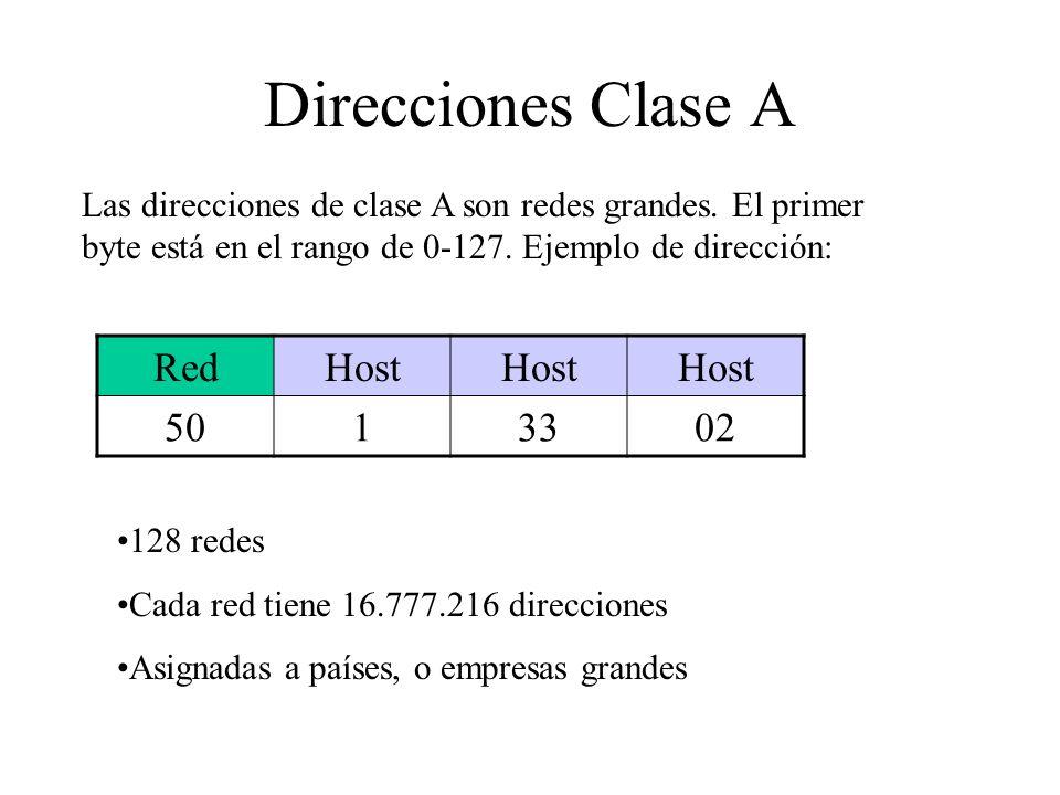 Direcciones Clase A Las direcciones de clase A son redes grandes. El primer byte está en el rango de 0-127. Ejemplo de dirección: RedHost 5013302 128